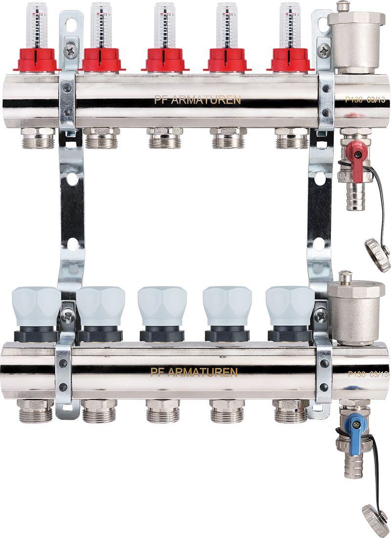 Коллекторная группа с расходомерами и термостатическими клапанами PROFACTOR фото