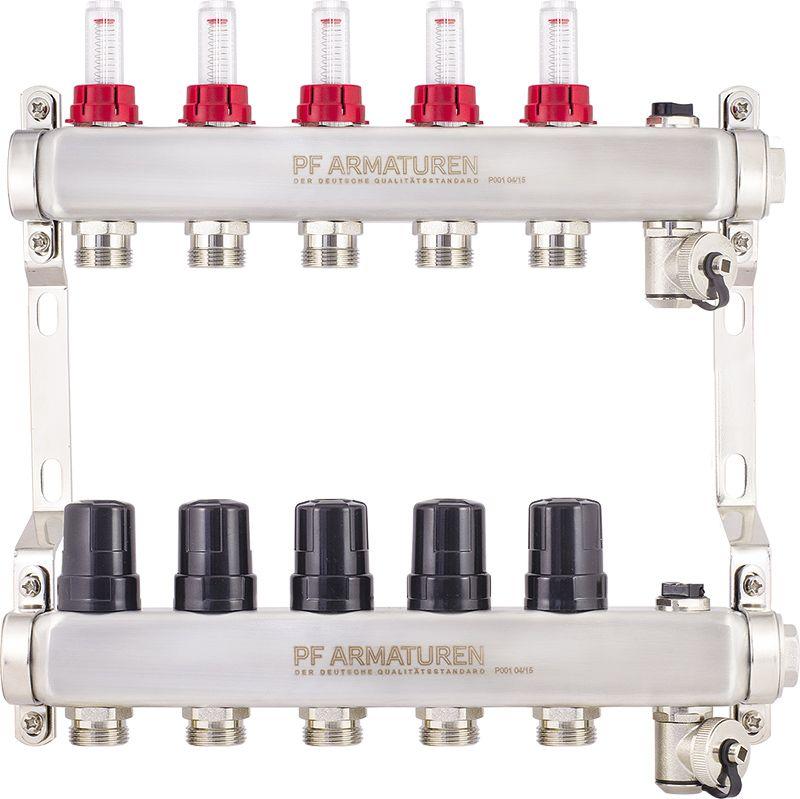 Коллекторная группа с расходомерами и термостатическими клапанами фото